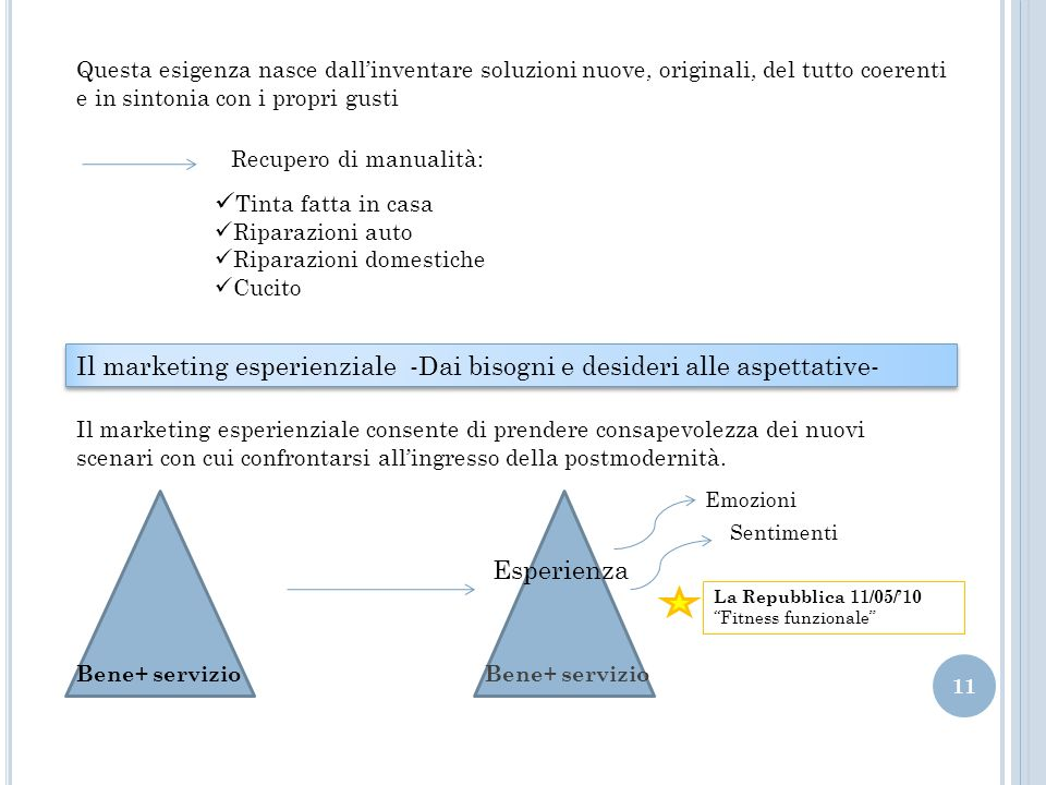 Il marketing esperienziale -Dai bisogni e desideri alle aspettative-