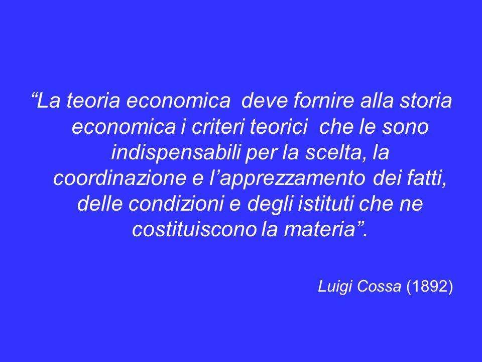 La teoria economica deve fornire alla storia economica i criteri teorici che le sono indispensabili per la scelta, la coordinazione e l'apprezzamento dei fatti, delle condizioni e degli istituti che ne costituiscono la materia .