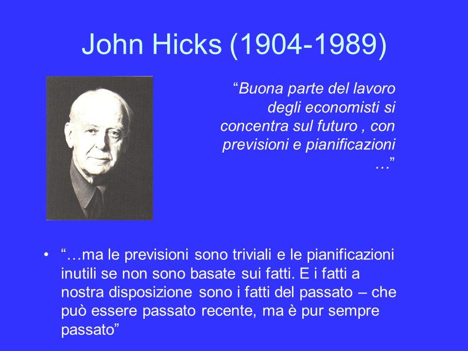 John Hicks (1904-1989) Buona parte del lavoro degli economisti si concentra sul futuro , con previsioni e pianificazioni …