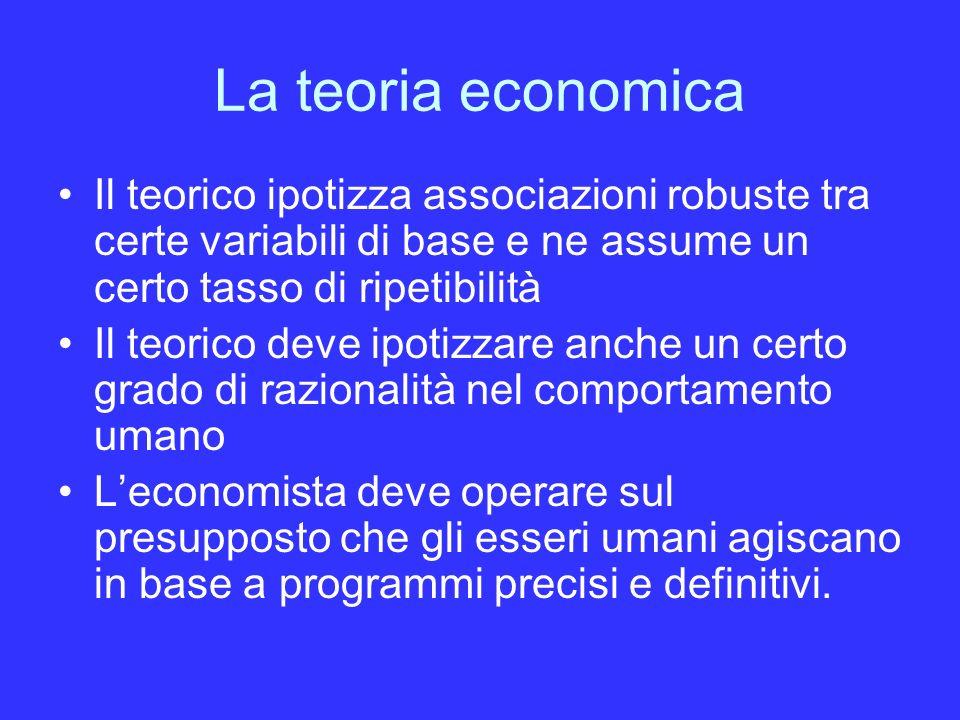 La teoria economica Il teorico ipotizza associazioni robuste tra certe variabili di base e ne assume un certo tasso di ripetibilità.