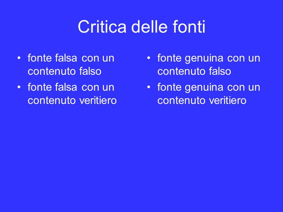 Critica delle fonti fonte falsa con un contenuto falso
