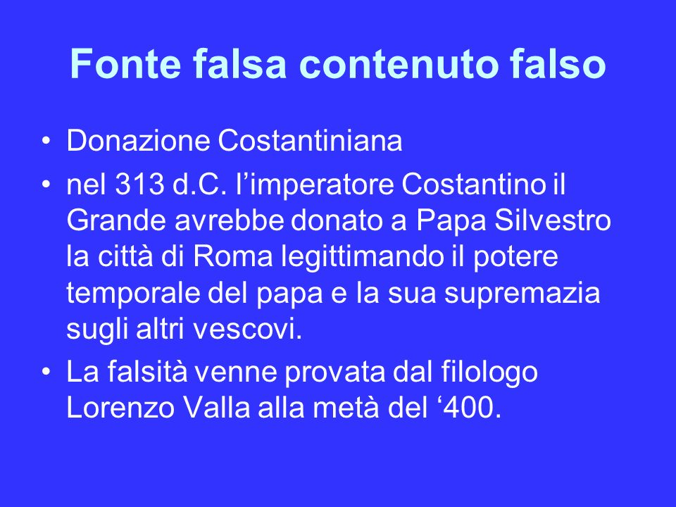 Fonte falsa contenuto falso
