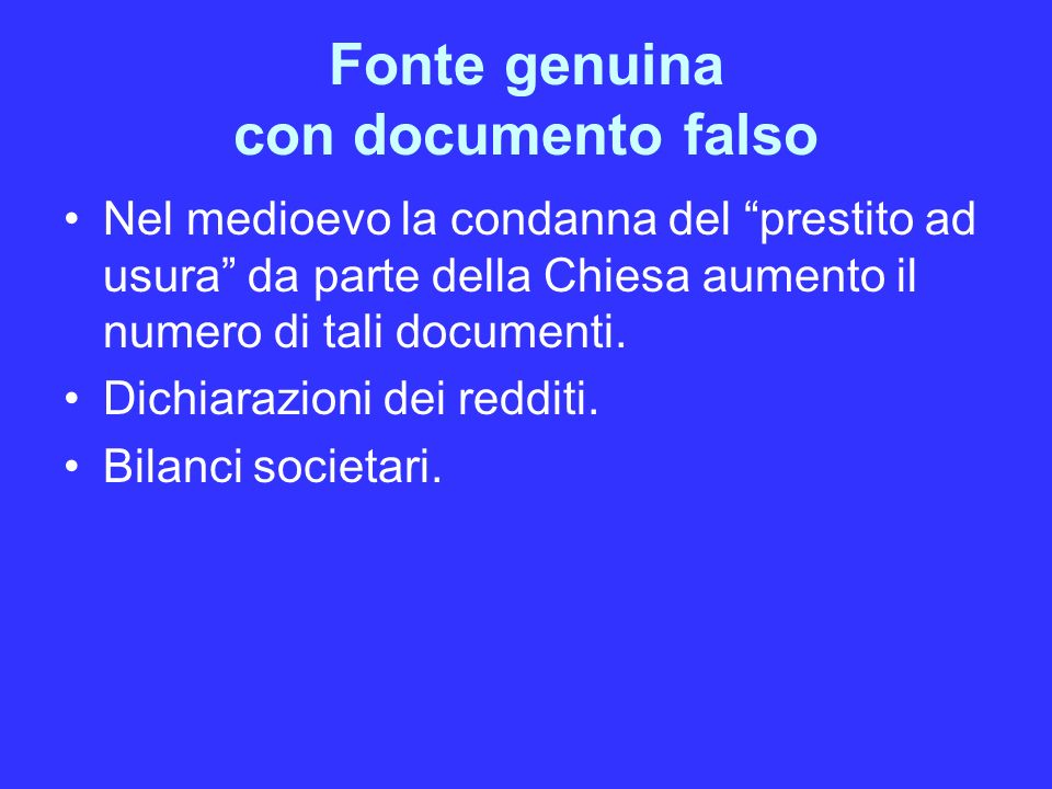 Fonte genuina con documento falso