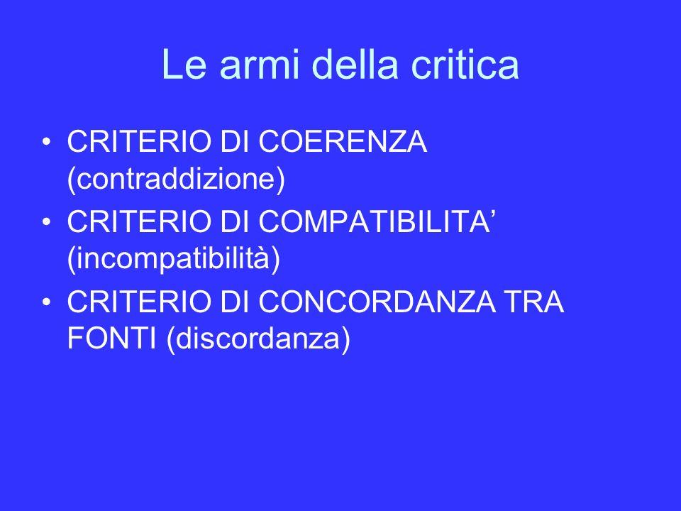 Le armi della critica CRITERIO DI COERENZA (contraddizione)