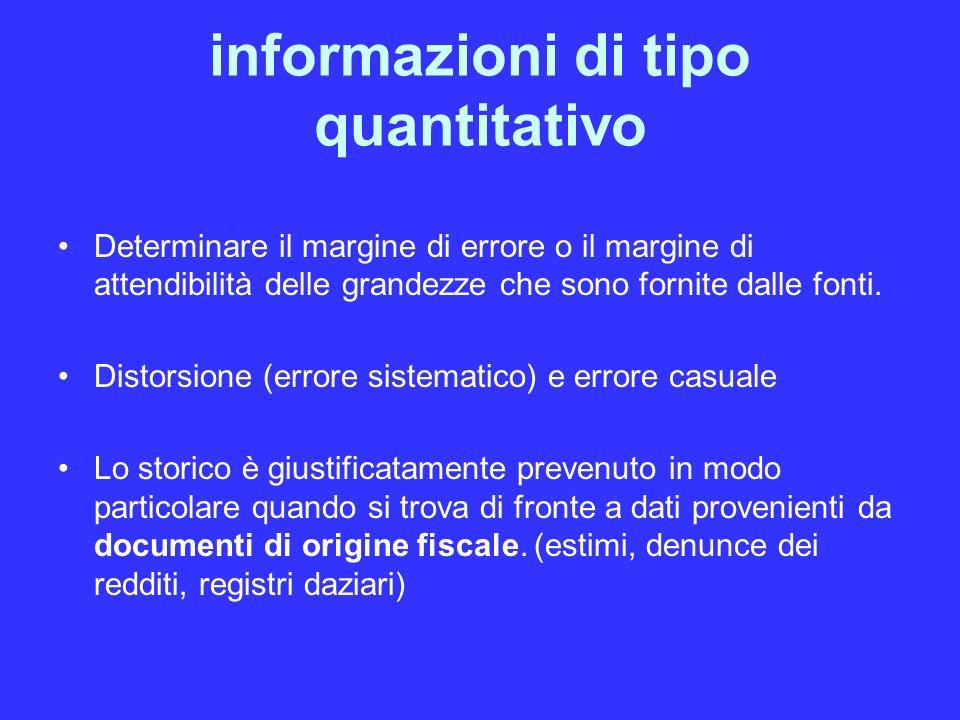 informazioni di tipo quantitativo