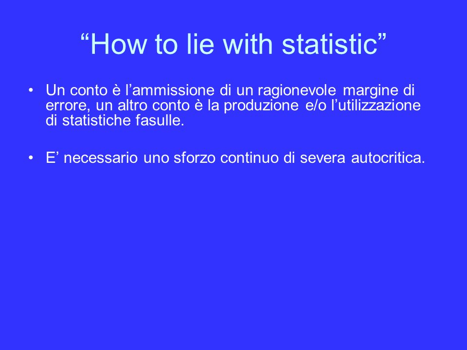 How to lie with statistic