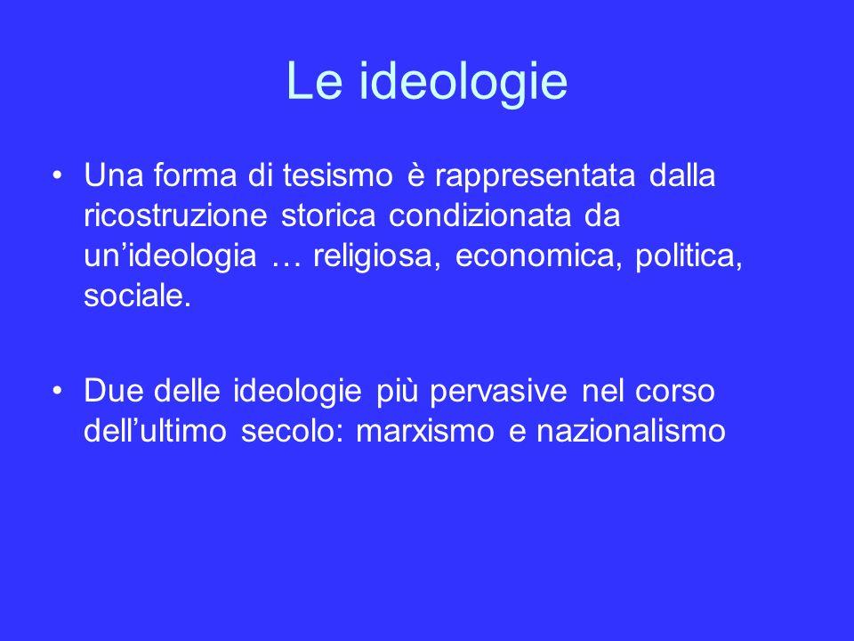 Le ideologie Una forma di tesismo è rappresentata dalla ricostruzione storica condizionata da un'ideologia … religiosa, economica, politica, sociale.