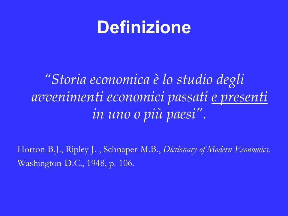 Definizione Storia economica è lo studio degli avvenimenti economici passati e presenti in uno o più paesi .