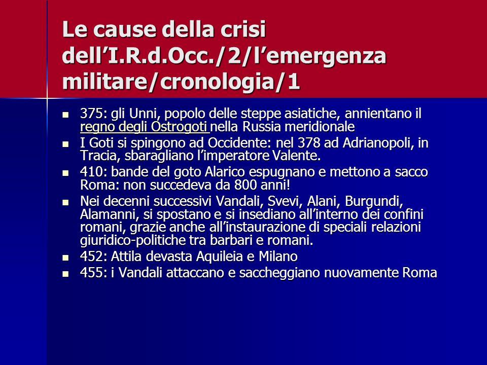 Le cause della crisi dell'I. R. d. Occ