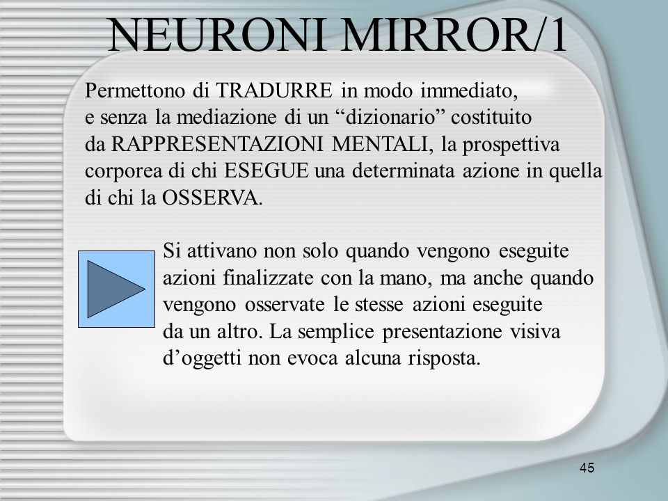 NEURONI MIRROR/1 Permettono di TRADURRE in modo immediato,