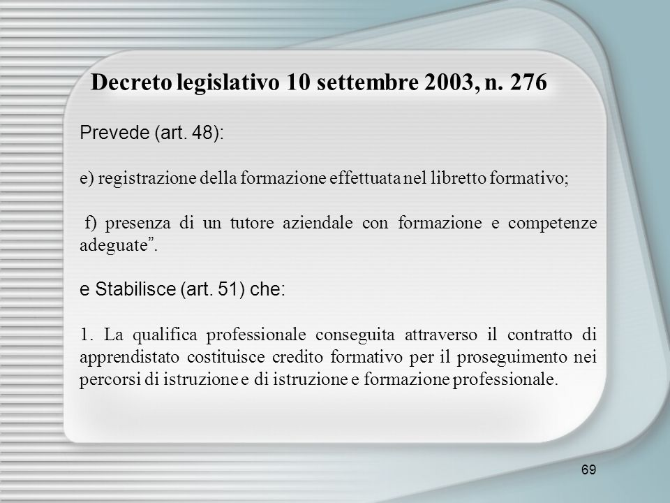 Decreto legislativo 10 settembre 2003, n. 276