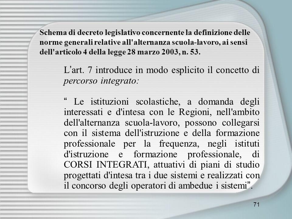 Schema di decreto legislativo concernente la definizione delle norme generali relative all alternanza scuola-lavoro, ai sensi dell articolo 4 della legge 28 marzo 2003, n. 53.