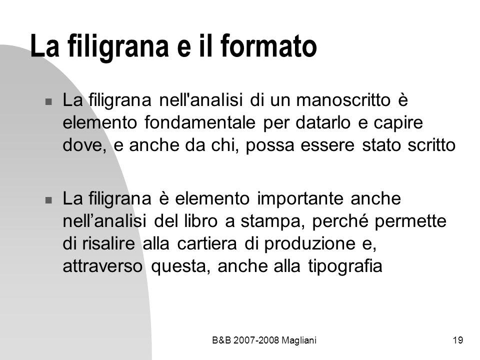 La filigrana e il formato
