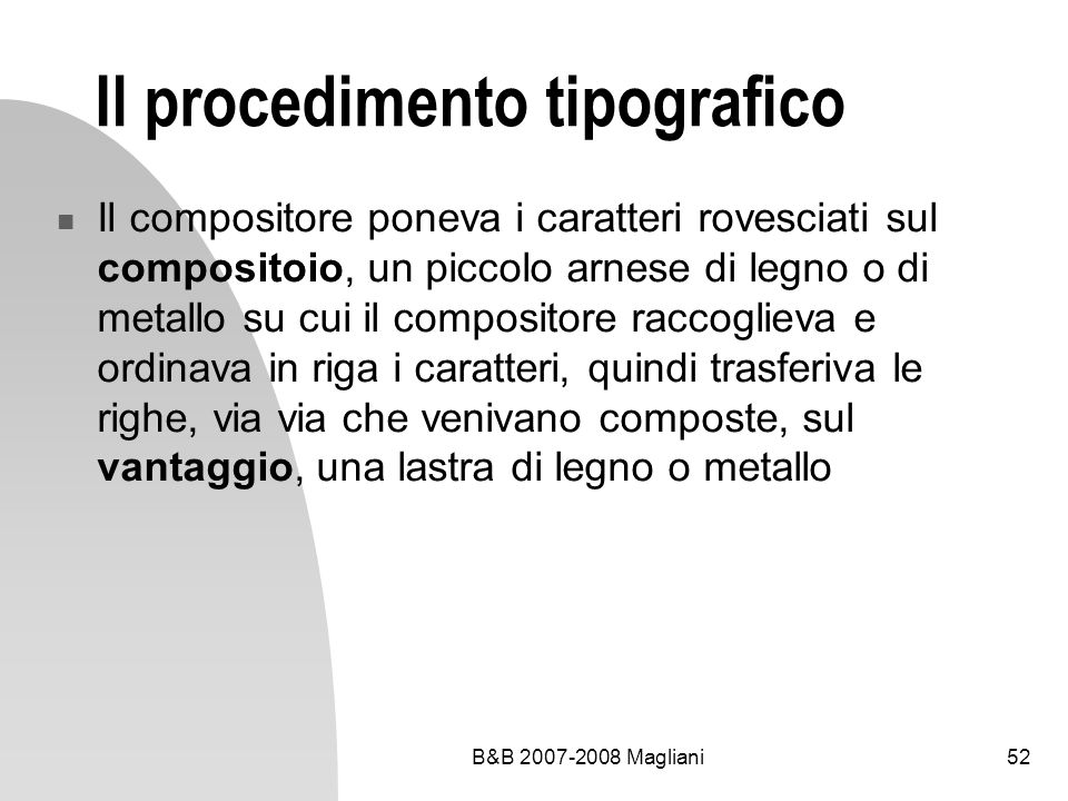 Il procedimento tipografico