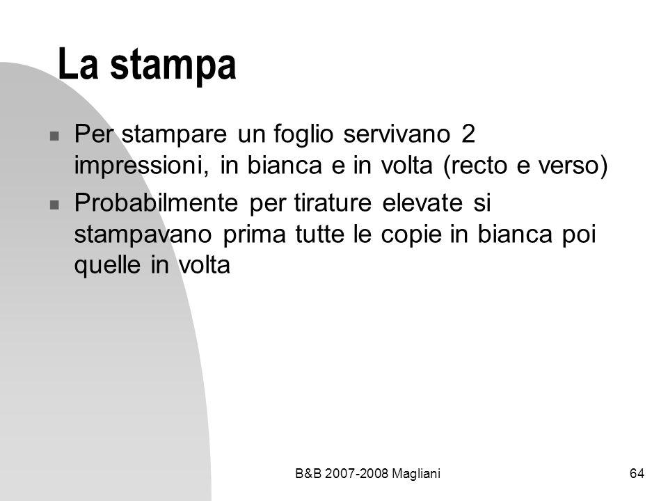 La stampa Per stampare un foglio servivano 2 impressioni, in bianca e in volta (recto e verso)