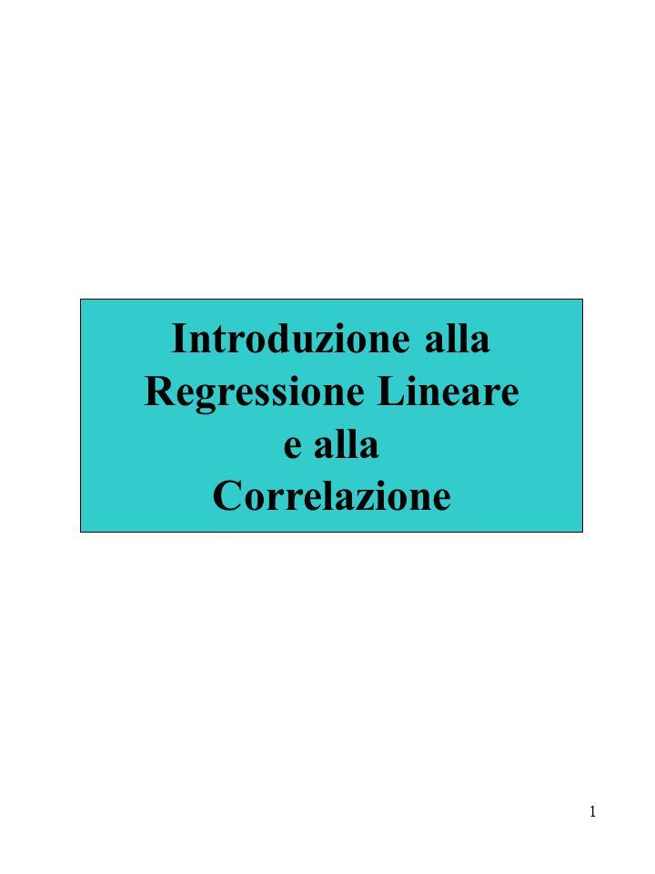 Introduzione alla Regressione Lineare e alla Correlazione