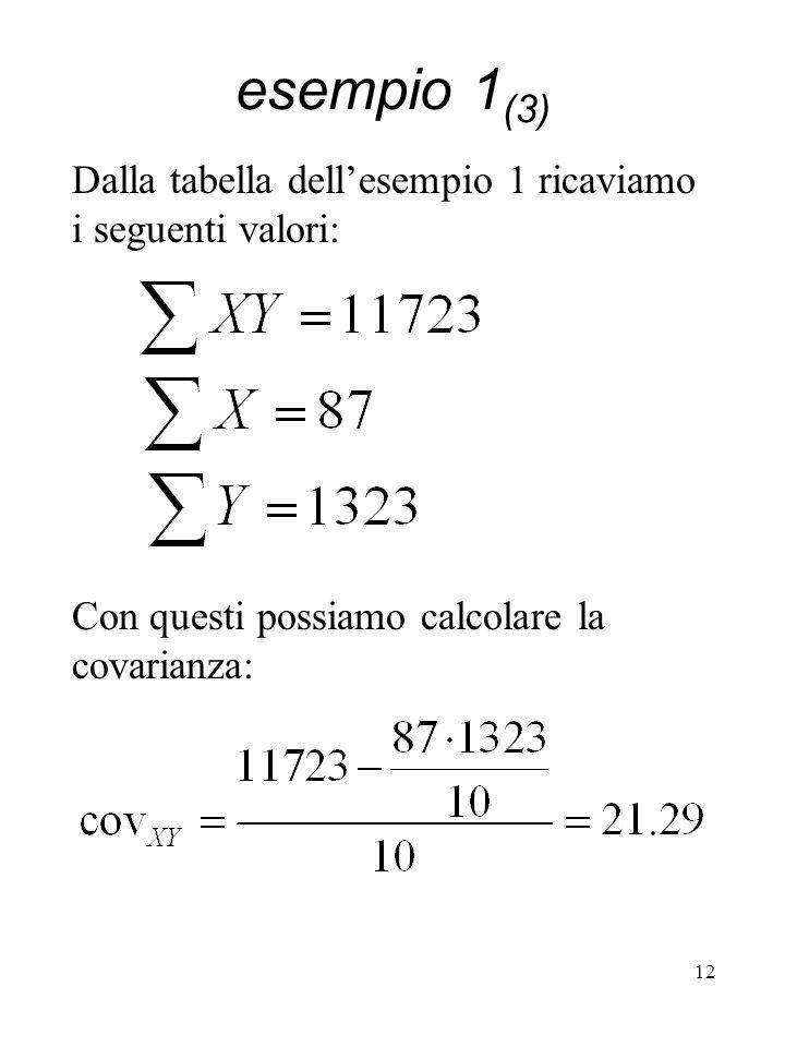 esempio 1(3) Dalla tabella dell'esempio 1 ricaviamo i seguenti valori: