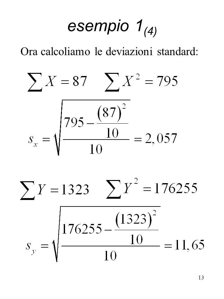 esempio 1(4) Ora calcoliamo le deviazioni standard: