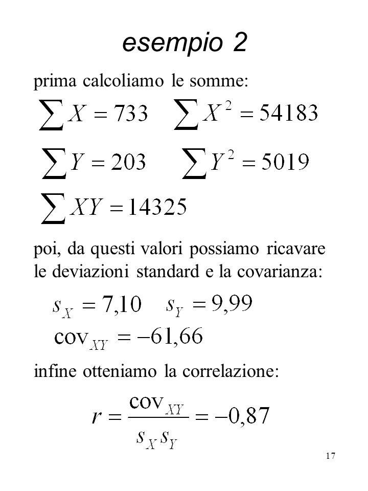 esempio 2 prima calcoliamo le somme: