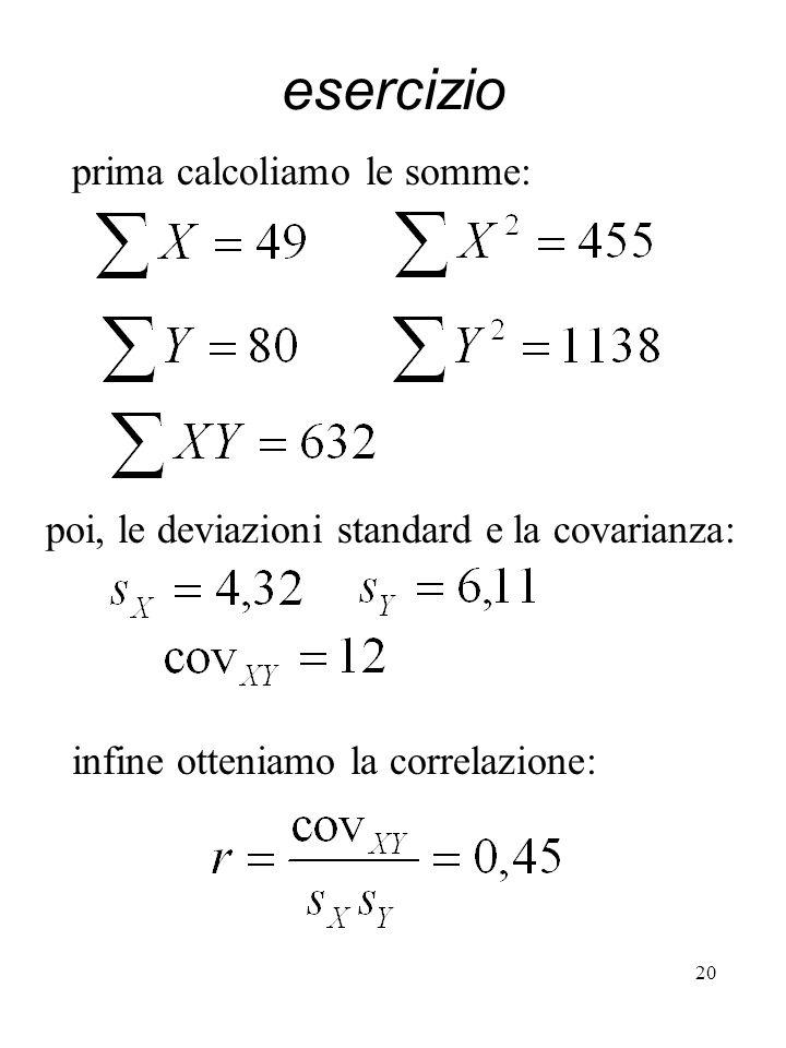 esercizio prima calcoliamo le somme: