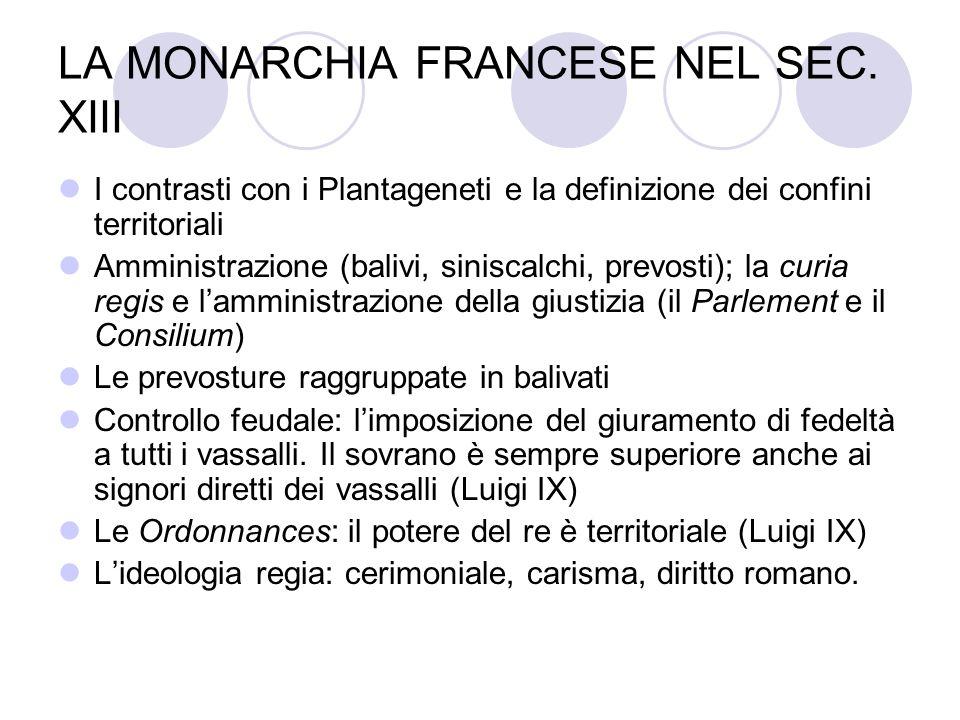 LA MONARCHIA FRANCESE NEL SEC. XIII