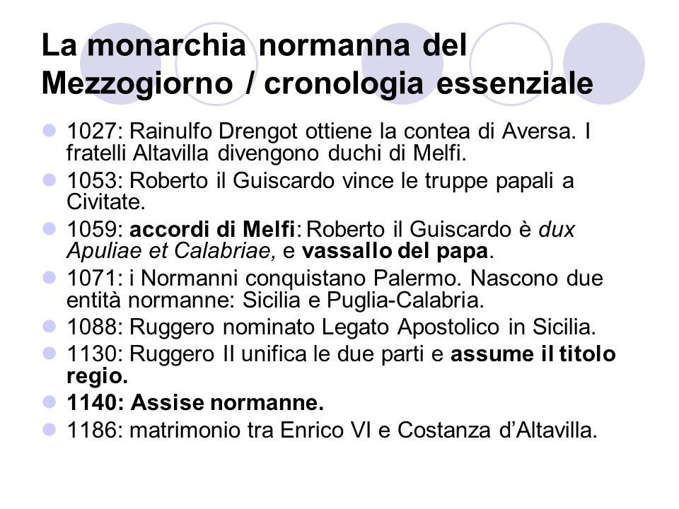 La monarchia normanna del Mezzogiorno / cronologia essenziale