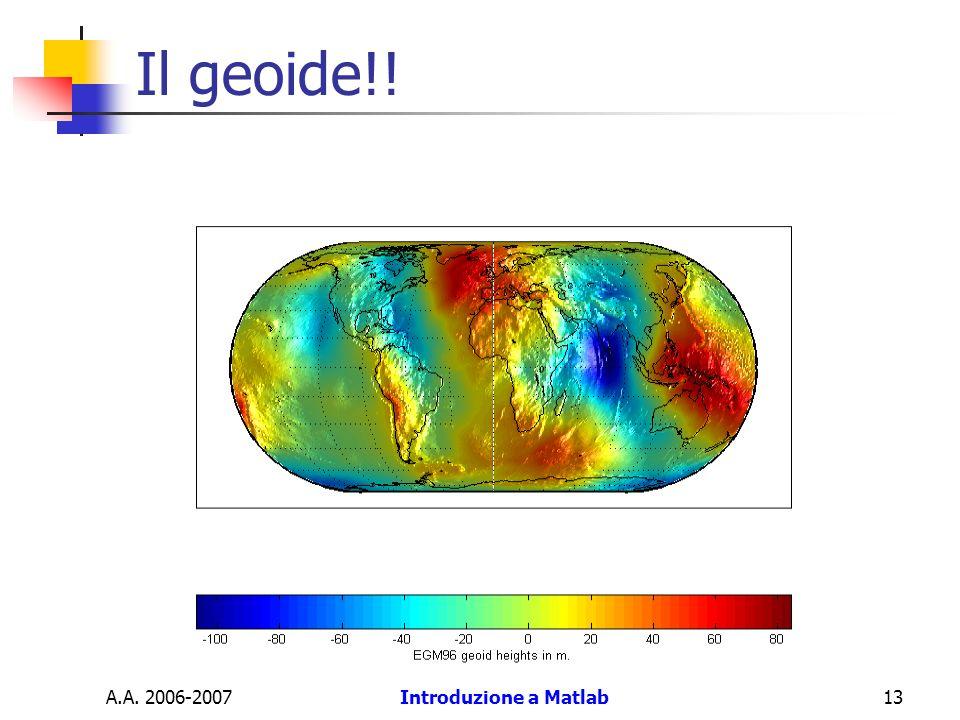 Il geoide!! A.A. 2006-2007 Introduzione a Matlab