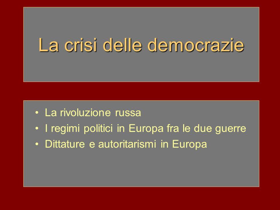 La crisi delle democrazie