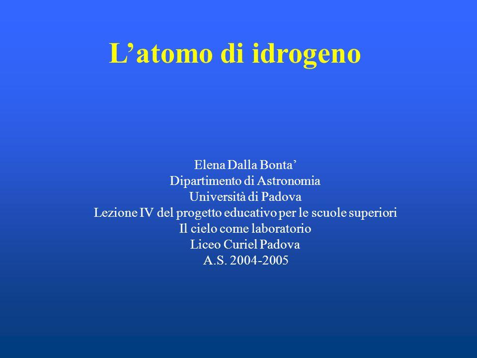 L'atomo di idrogeno Elena Dalla Bonta' Dipartimento di Astronomia
