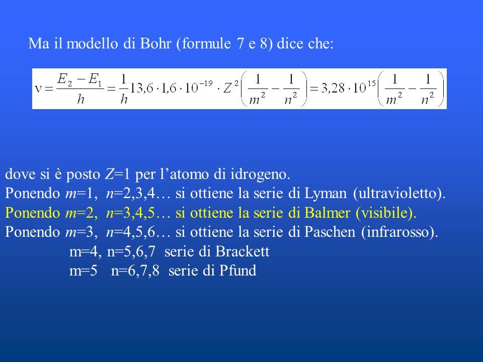 Ma il modello di Bohr (formule 7 e 8) dice che: