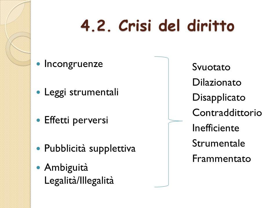4.2. Crisi del diritto Incongruenze Leggi strumentali Svuotato