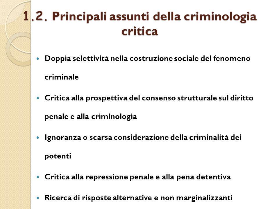 1.2. Principali assunti della criminologia critica
