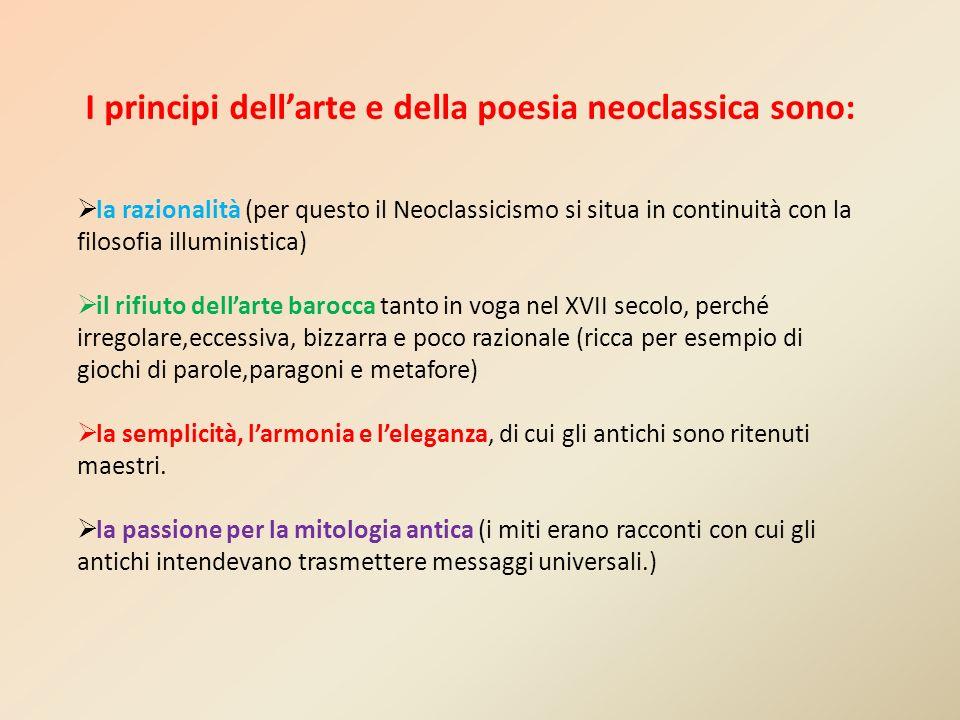 I principi dell'arte e della poesia neoclassica sono: