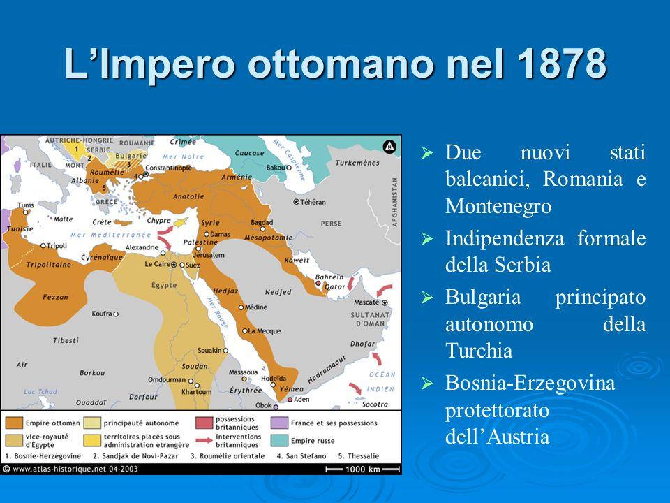L'Impero ottomano nel 1878 Due nuovi stati balcanici, Romania e Montenegro. Indipendenza formale della Serbia.