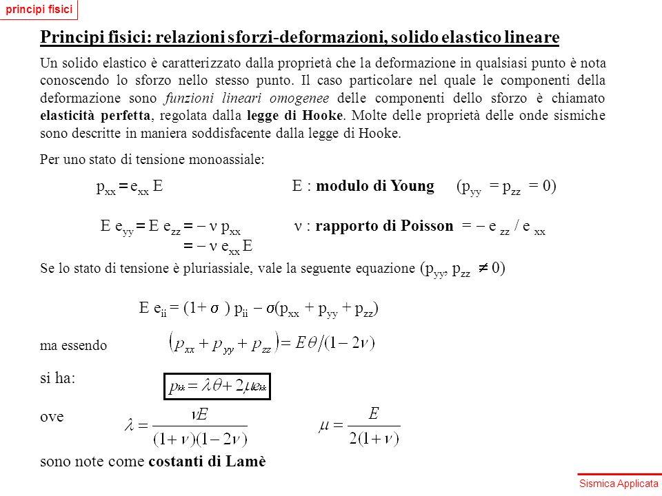 principi fisici Principi fisici: relazioni sforzi-deformazioni, solido elastico lineare.