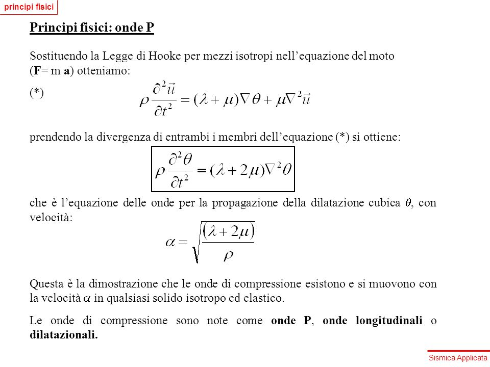 Principi fisici: onde P