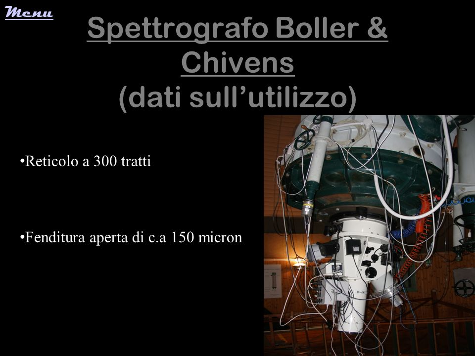 Spettrografo Boller & Chivens (dati sull'utilizzo)