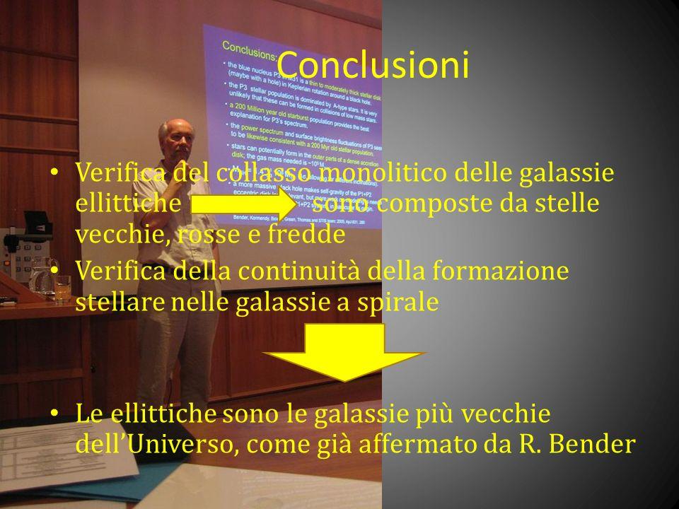 Conclusioni Verifica del collasso monolitico delle galassie ellittiche sono composte da stelle vecchie, rosse e fredde.