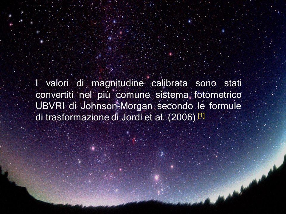 I valori di magnitudine calibrata sono stati convertiti nel più comune sistema fotometrico UBVRI di Johnson-Morgan secondo le formule di trasformazione di Jordi et al.