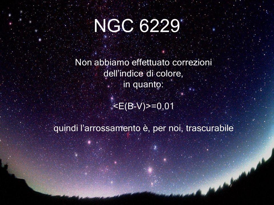 NGC 6229 Non abbiamo effettuato correzioni dell'indice di colore,