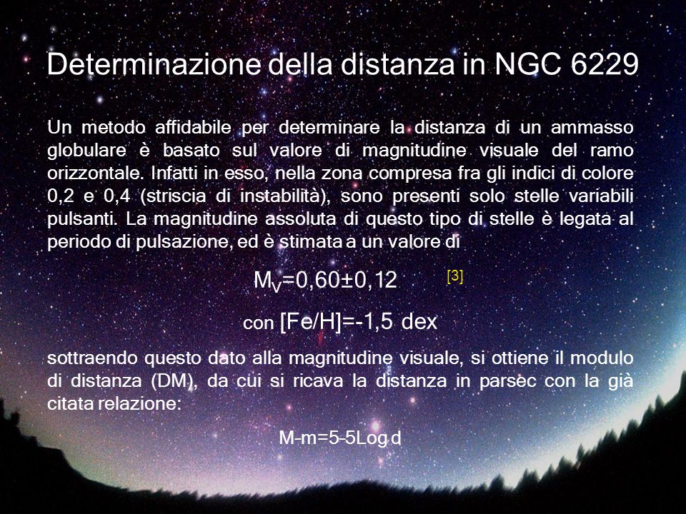 Determinazione della distanza in NGC 6229