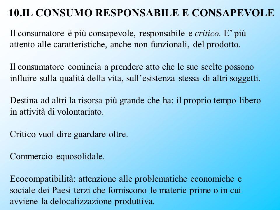 10.IL CONSUMO RESPONSABILE E CONSAPEVOLE