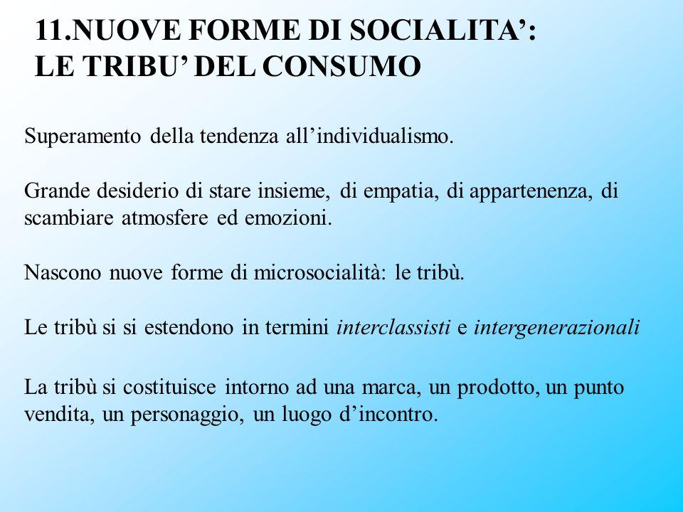 11.NUOVE FORME DI SOCIALITA': LE TRIBU' DEL CONSUMO
