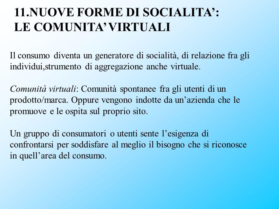 11.NUOVE FORME DI SOCIALITA': LE COMUNITA' VIRTUALI