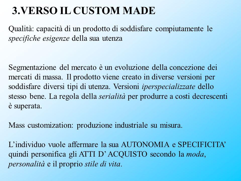 3.VERSO IL CUSTOM MADE Qualità: capacità di un prodotto di soddisfare compiutamente le specifiche esigenze della sua utenza.