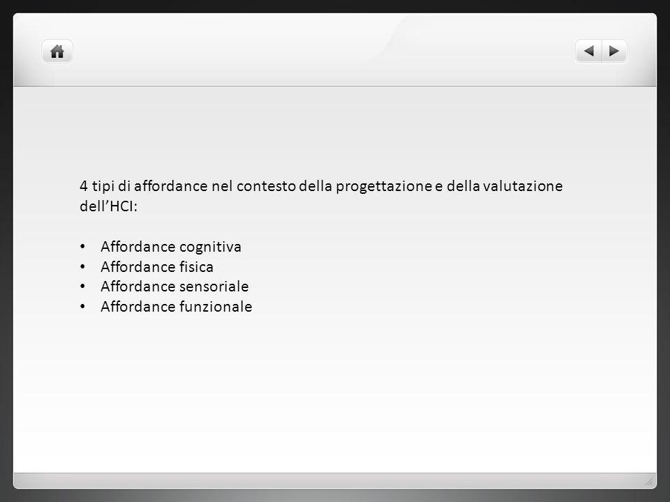 4 tipi di affordance nel contesto della progettazione e della valutazione dell'HCI: