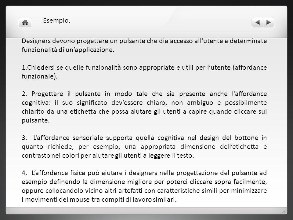 Esempio.Designers devono progettare un pulsante che dia accesso all'utente a determinate funzionalità di un'applicazione.