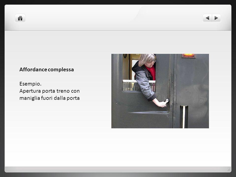 Affordance complessa Esempio. Apertura porta treno con maniglia fuori dalla porta