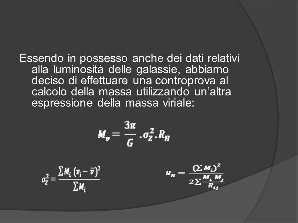 Essendo in possesso anche dei dati relativi alla luminosità delle galassie, abbiamo deciso di effettuare una controprova al calcolo della massa utilizzando un'altra espressione della massa viriale: