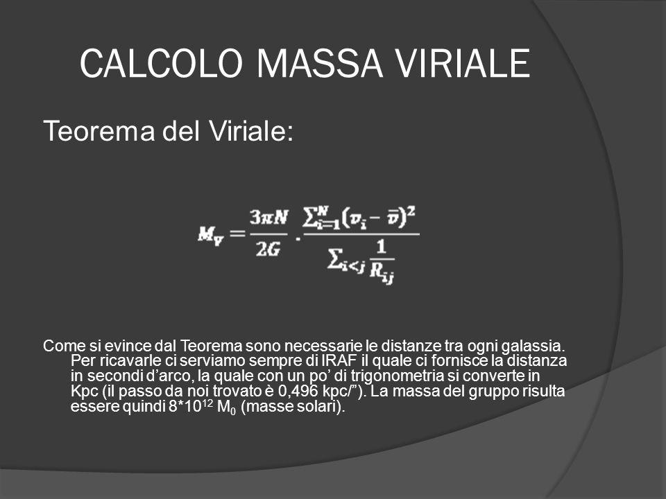 CALCOLO MASSA VIRIALE Teorema del Viriale: